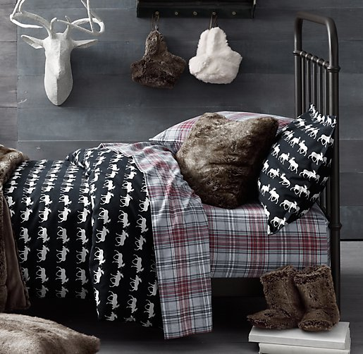 restoration hardware baby and child european cabin plaid flannel bedding