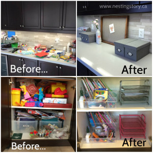 Before and after - kitchen clutter organization