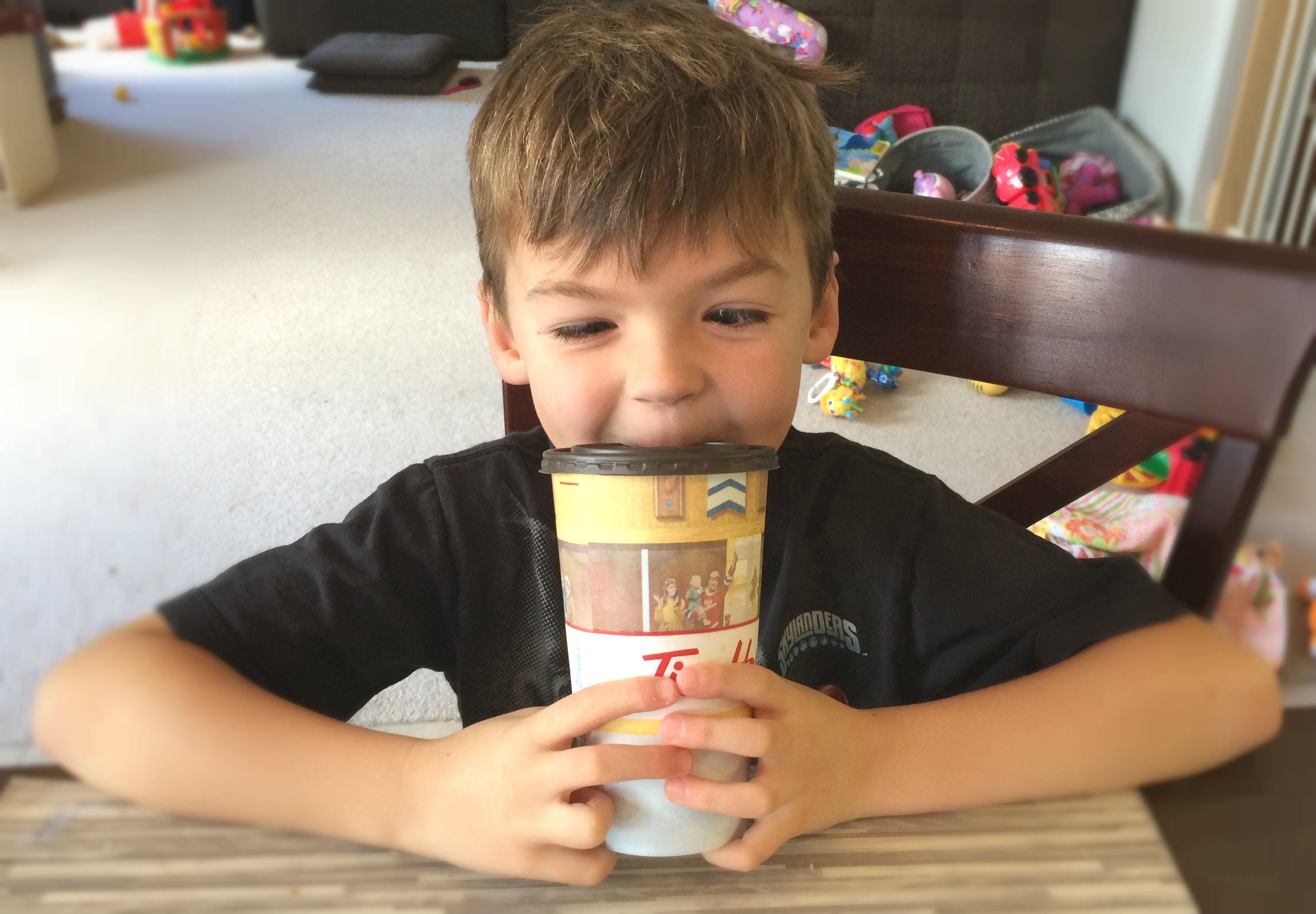 Holden trying coffee