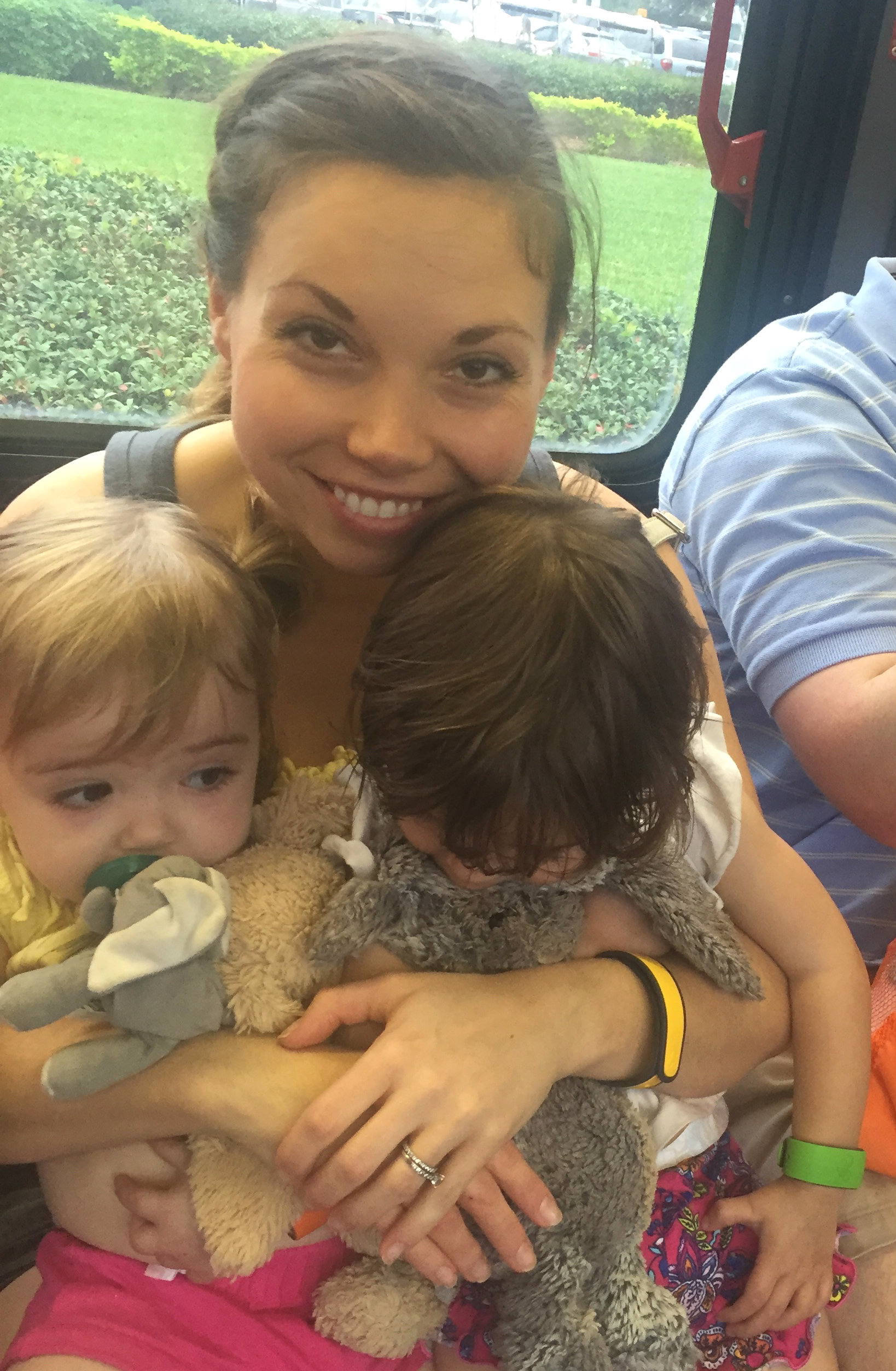 On a Disney bus with twins
