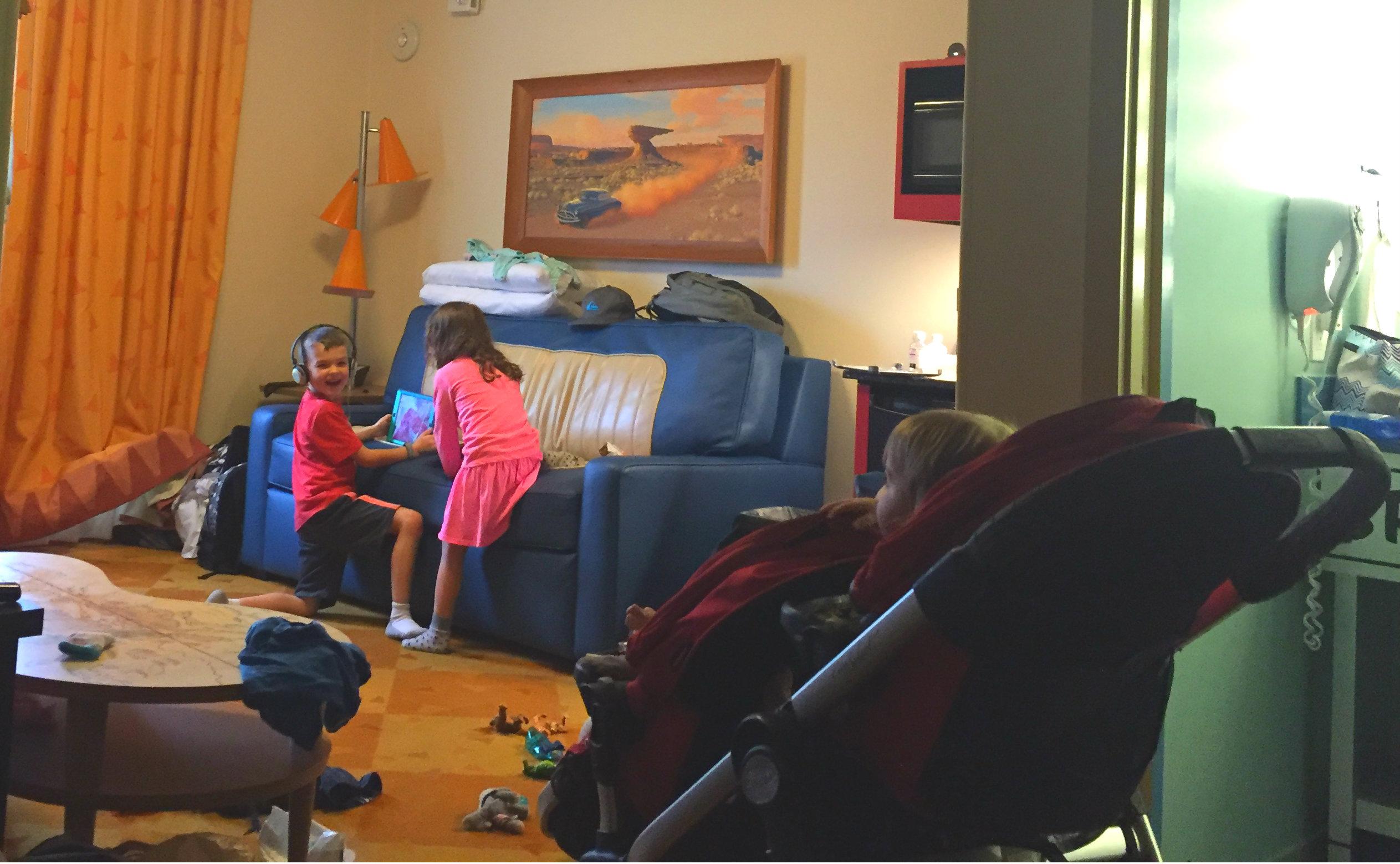 Stroller in hotel room