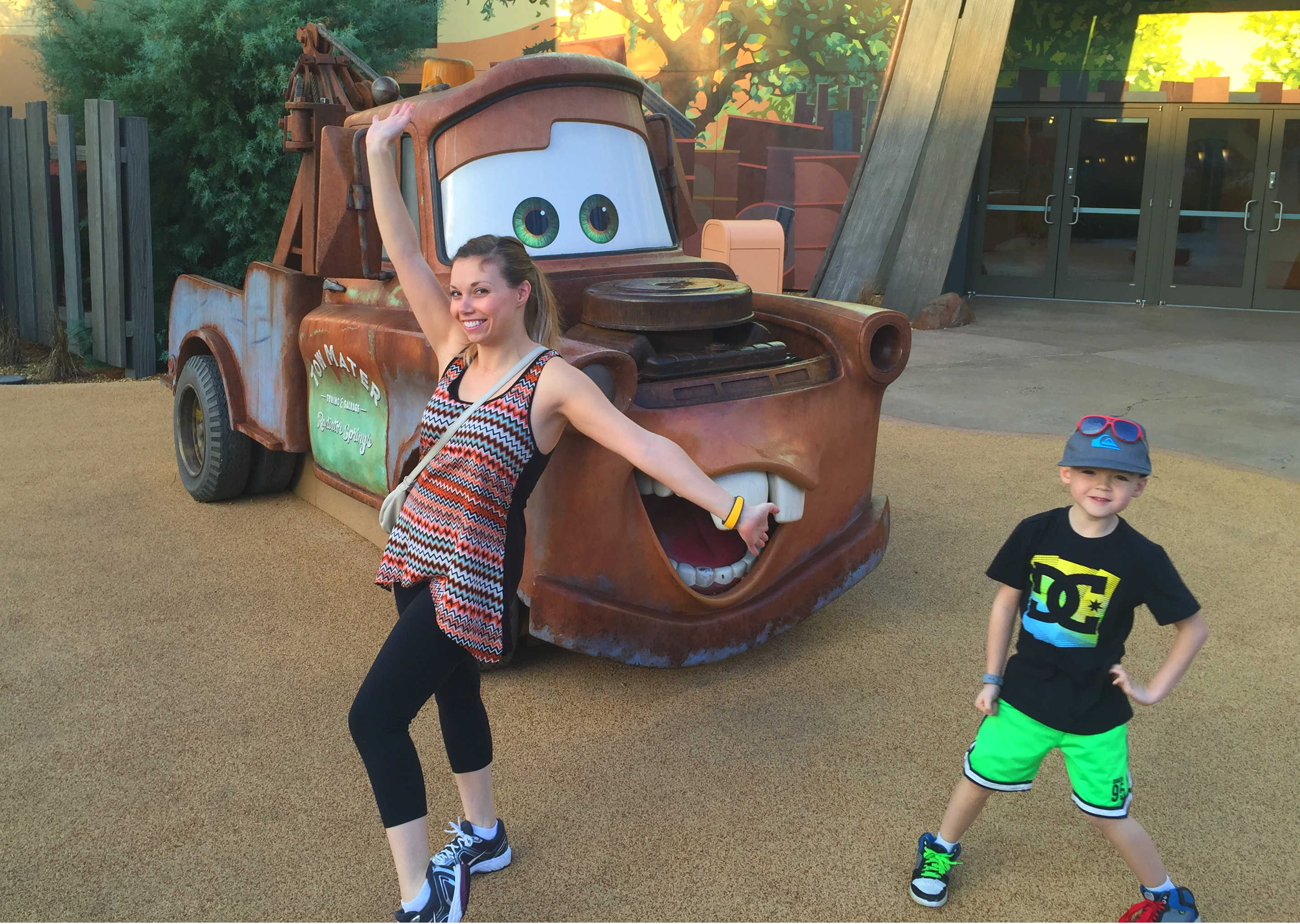 posing in front of mater