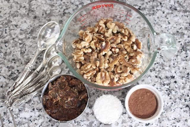 Chocolate walnut energy bites ingredients - Amidst the Chaos