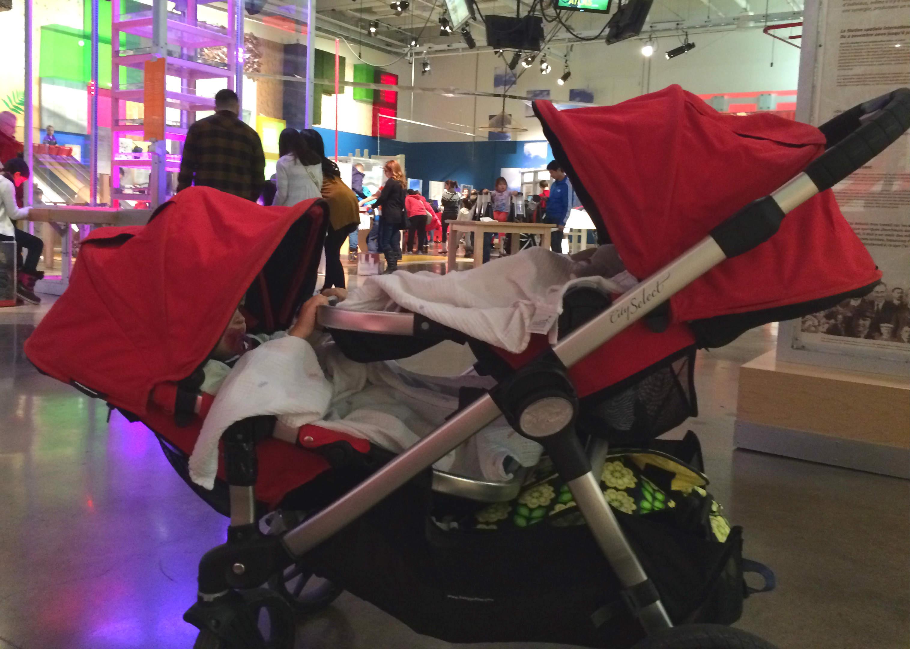 twins reclined in stroller
