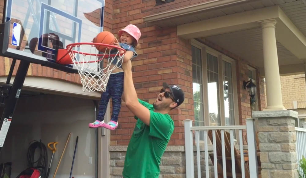 playing basketball with dad