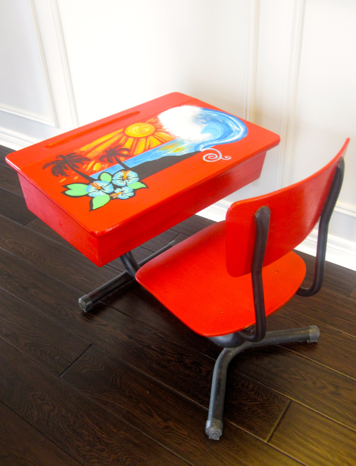 An Old School Desk is Given a Fresh Surf Look With a Hand Painted Touch
