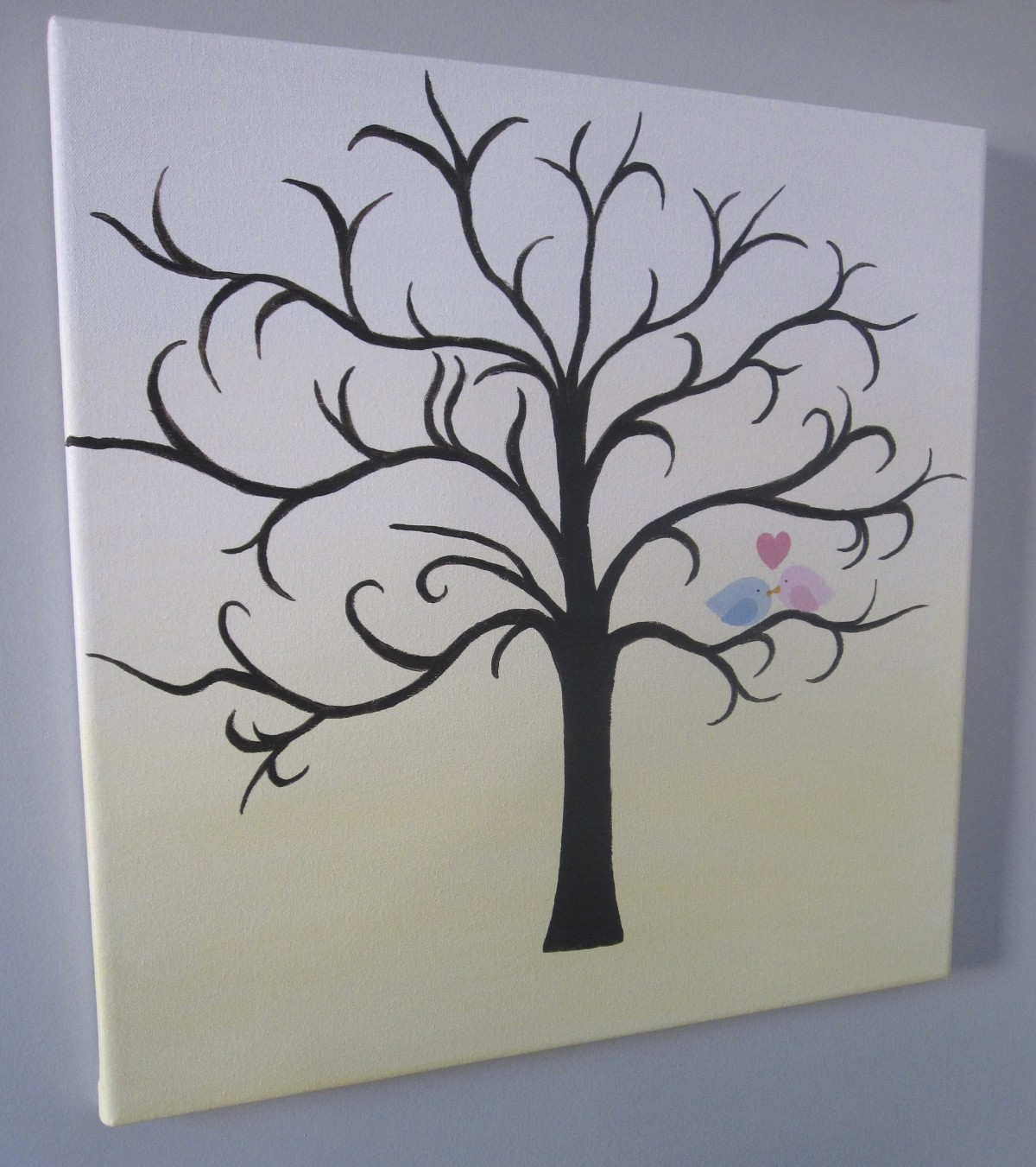 Gender Reveal Party – Pink and Blue Finger Print Leaves Tree Painting