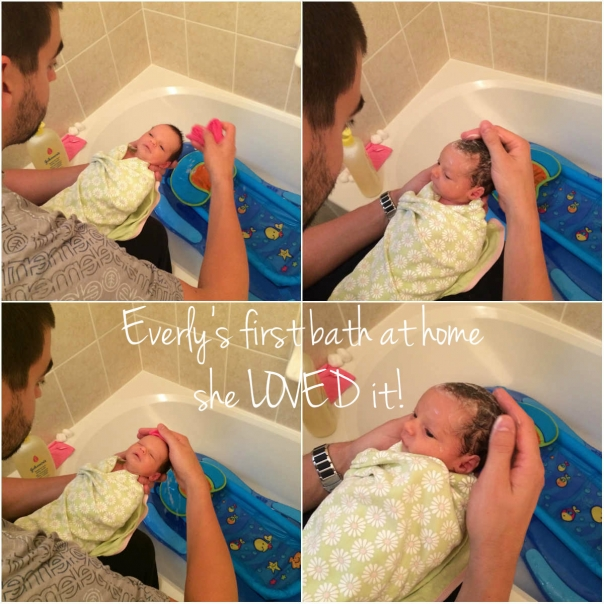 Everly's first bath at home