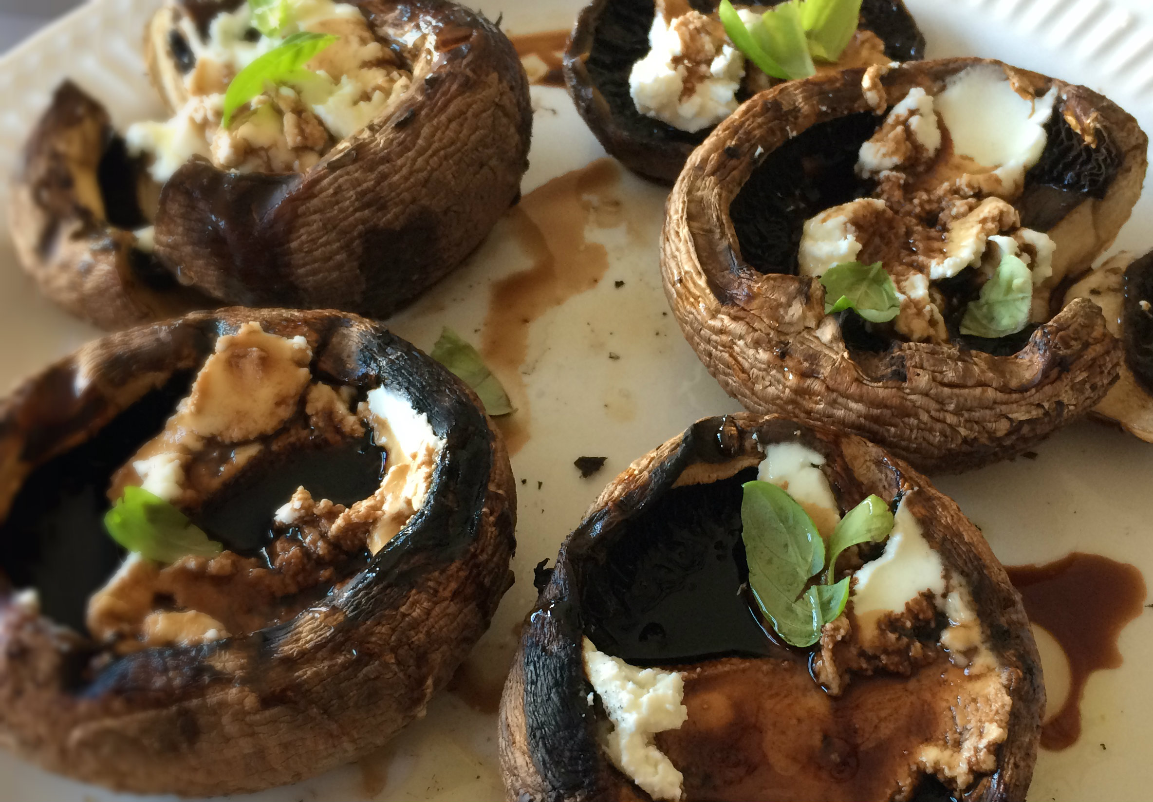 Grilled Mushrooms Goat Cheese Balsamic