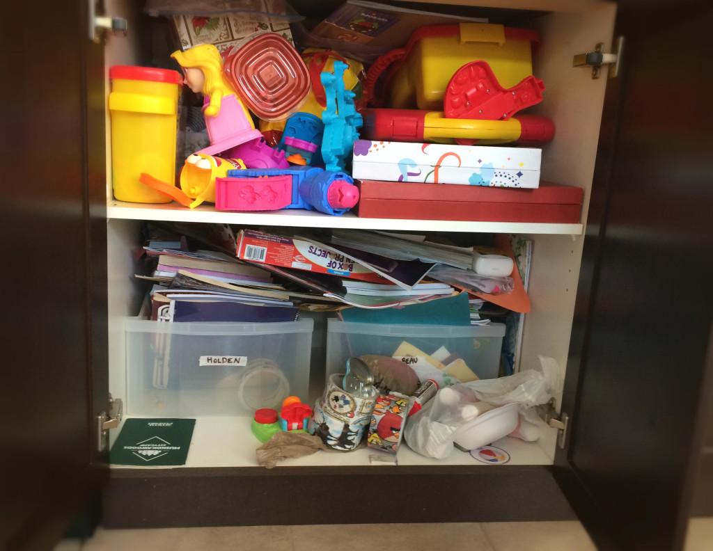 Inside a messy cupboard