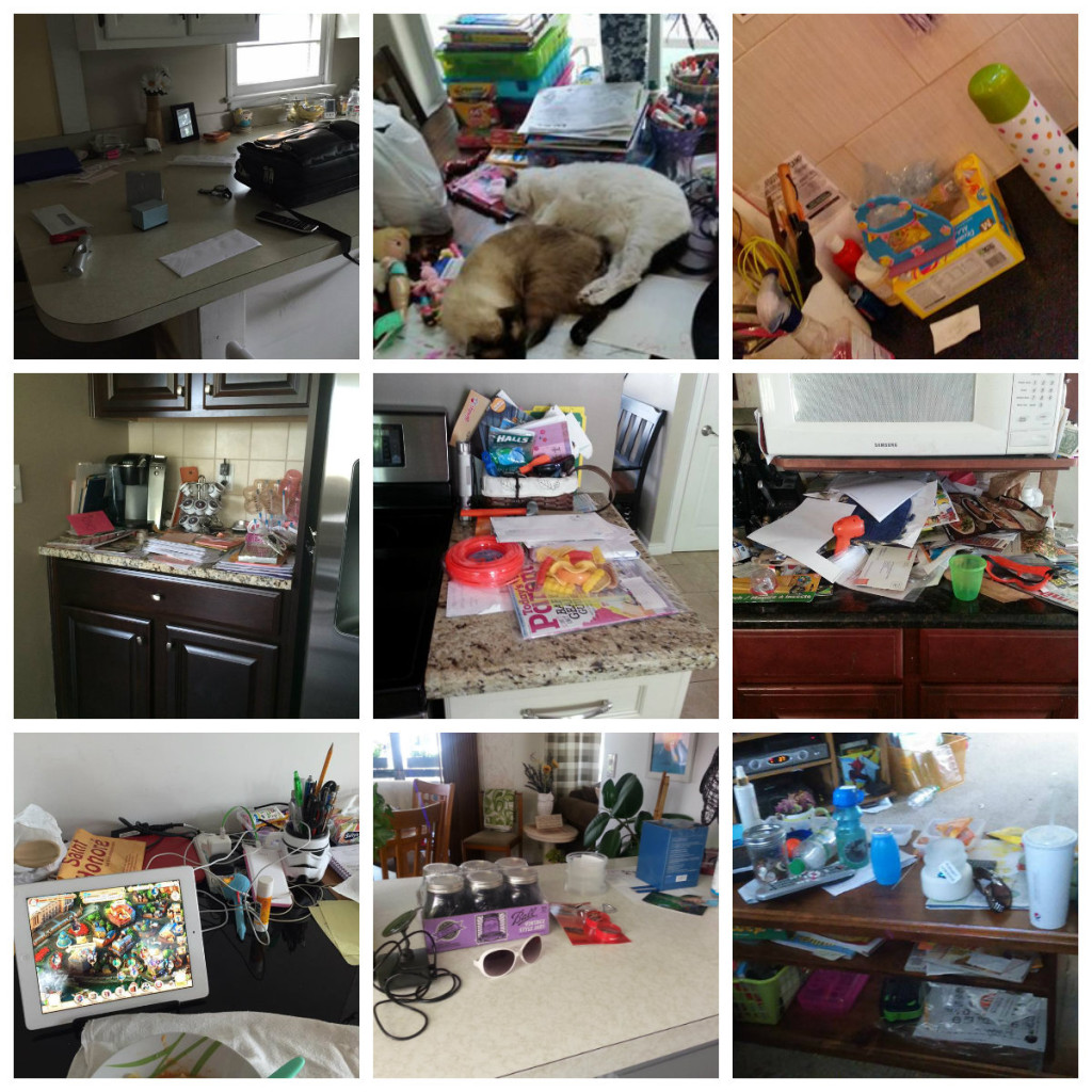 collage of messy counters
