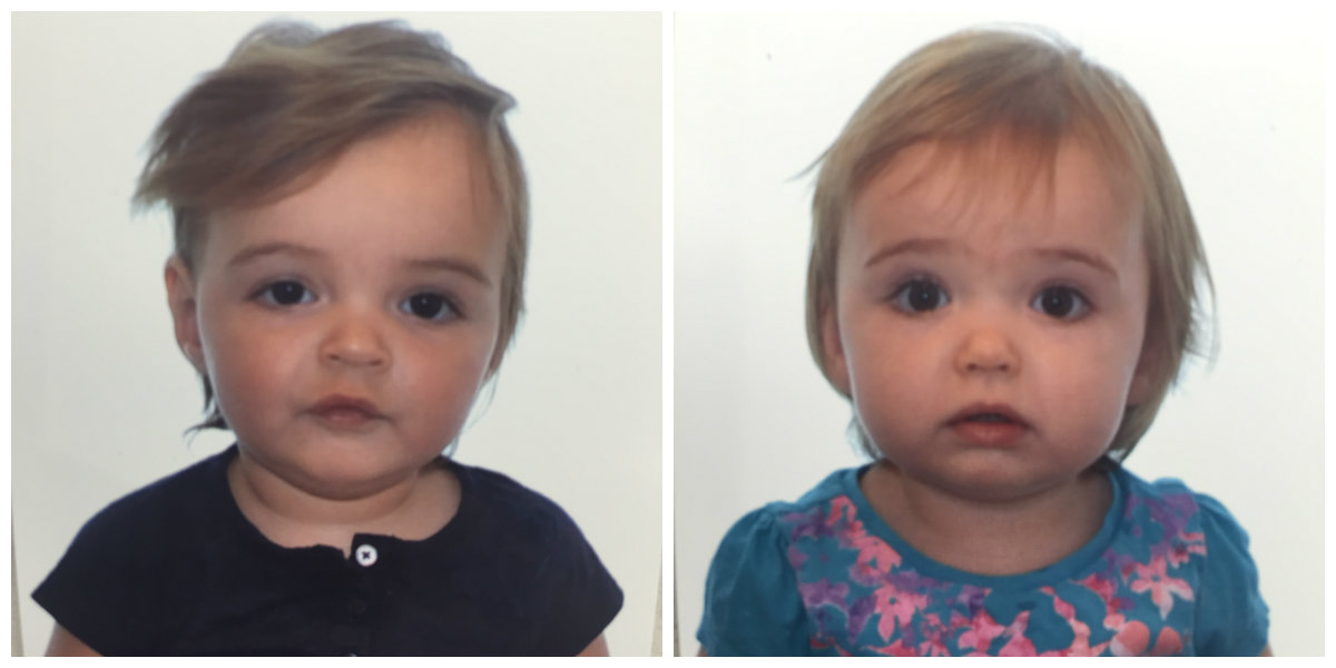 Twins' passport photos