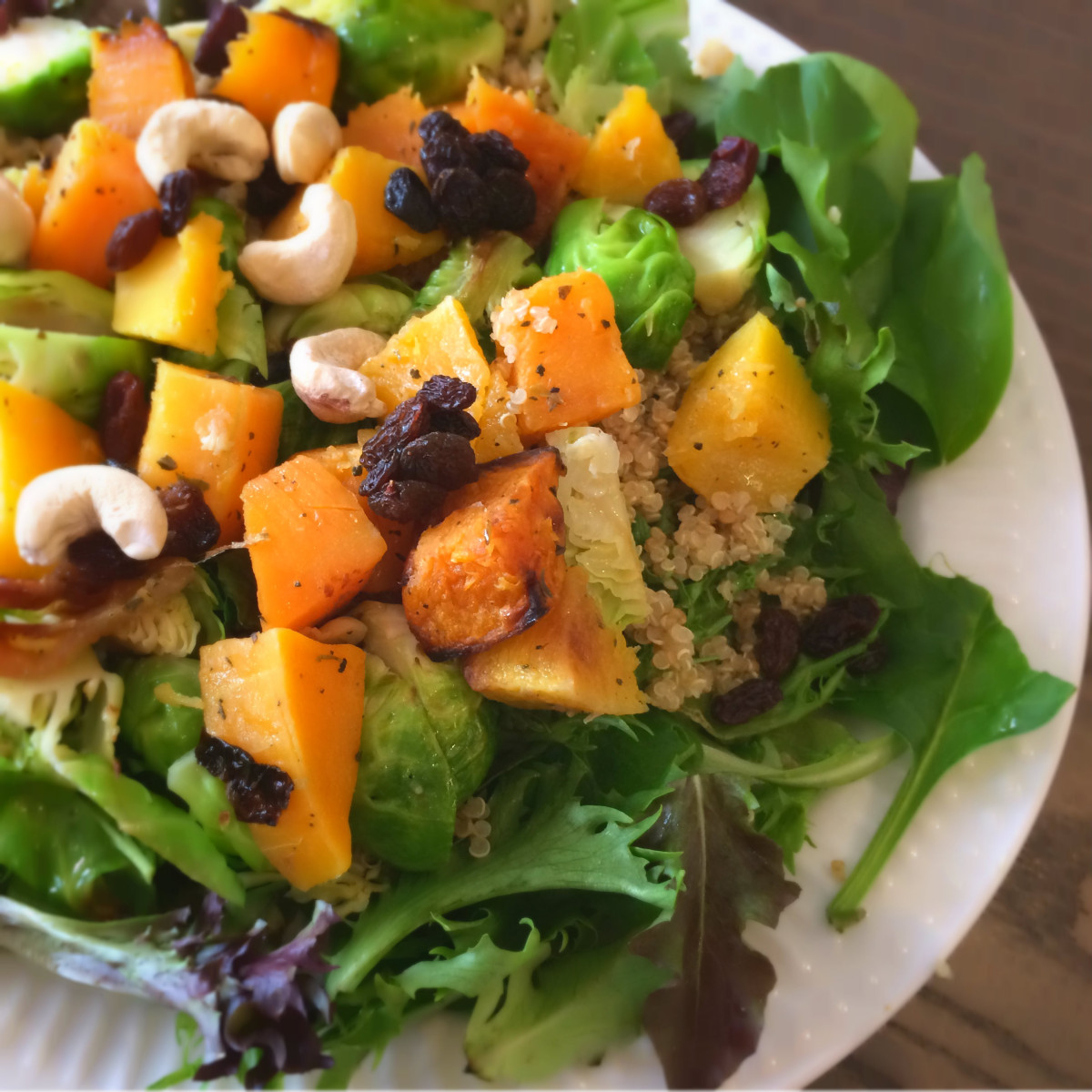 The Ultimate Fall Salad: Spinach, Quinoa, Squash and Brussel Sprouts