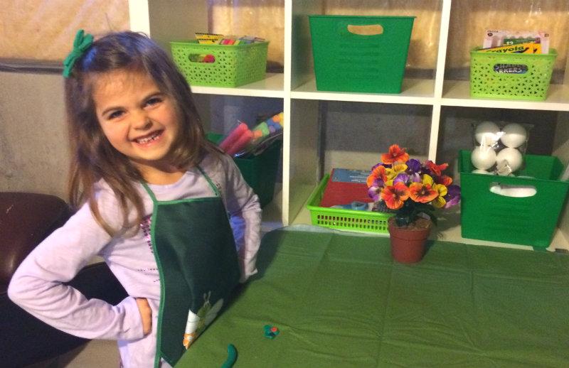 Beau in her craft studio