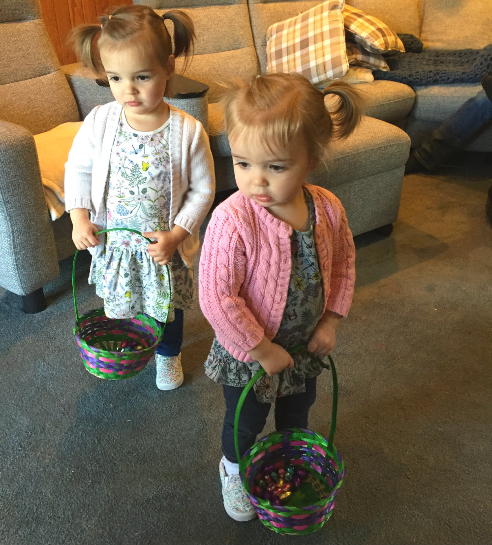 Mia and Everly Easter egg hunt