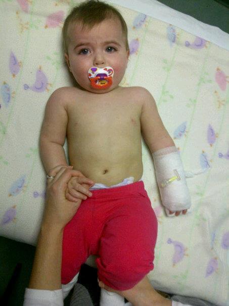 Sick child with IV