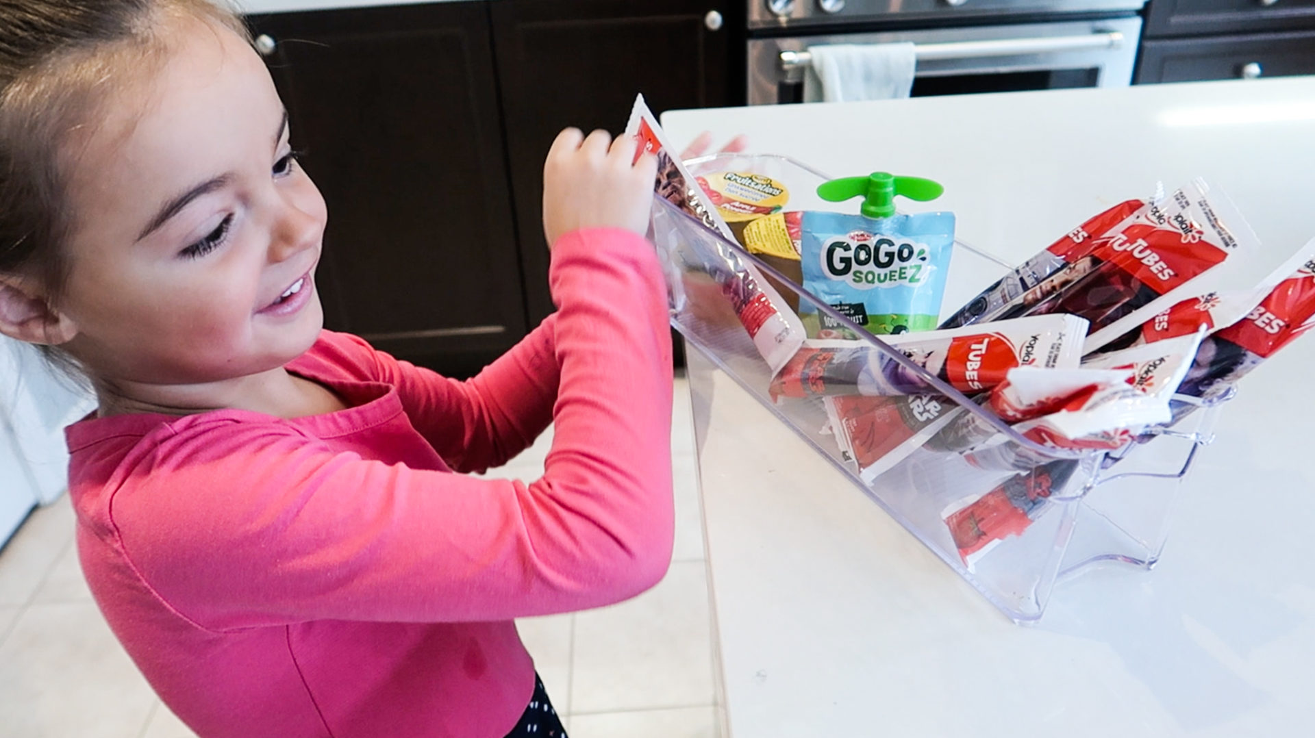 more independent kids can get their own snacks from a designated storage bin - nesting story