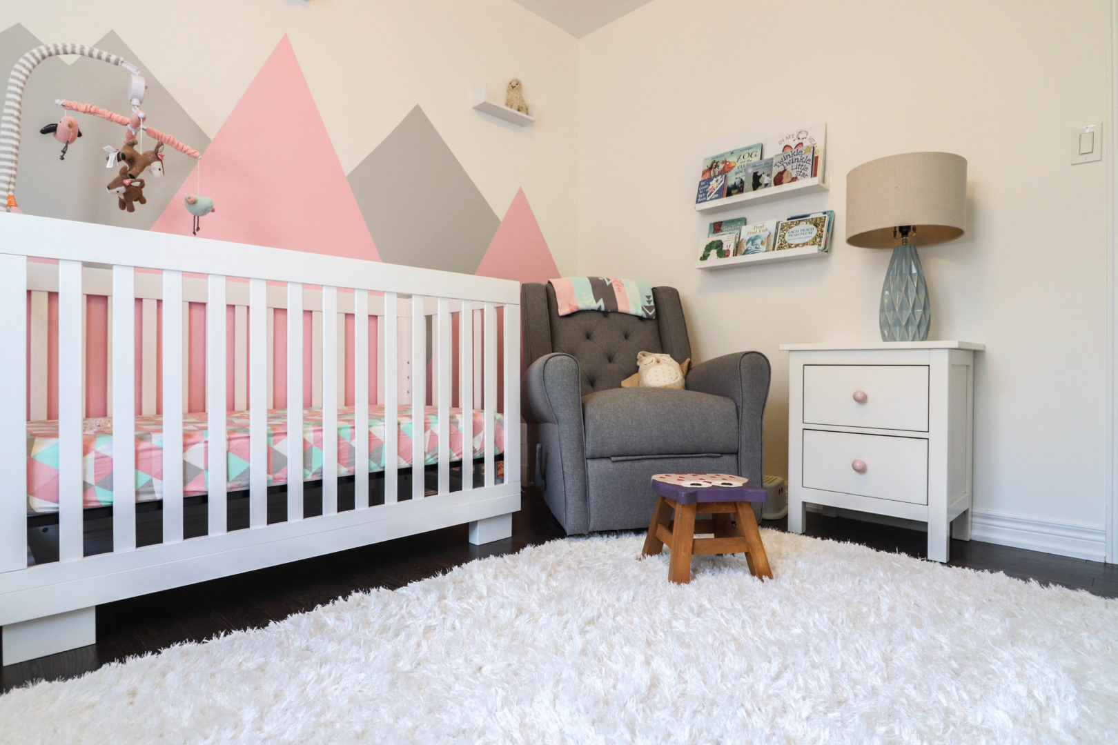 Pink mountains location inspiration baby girl nursery decor