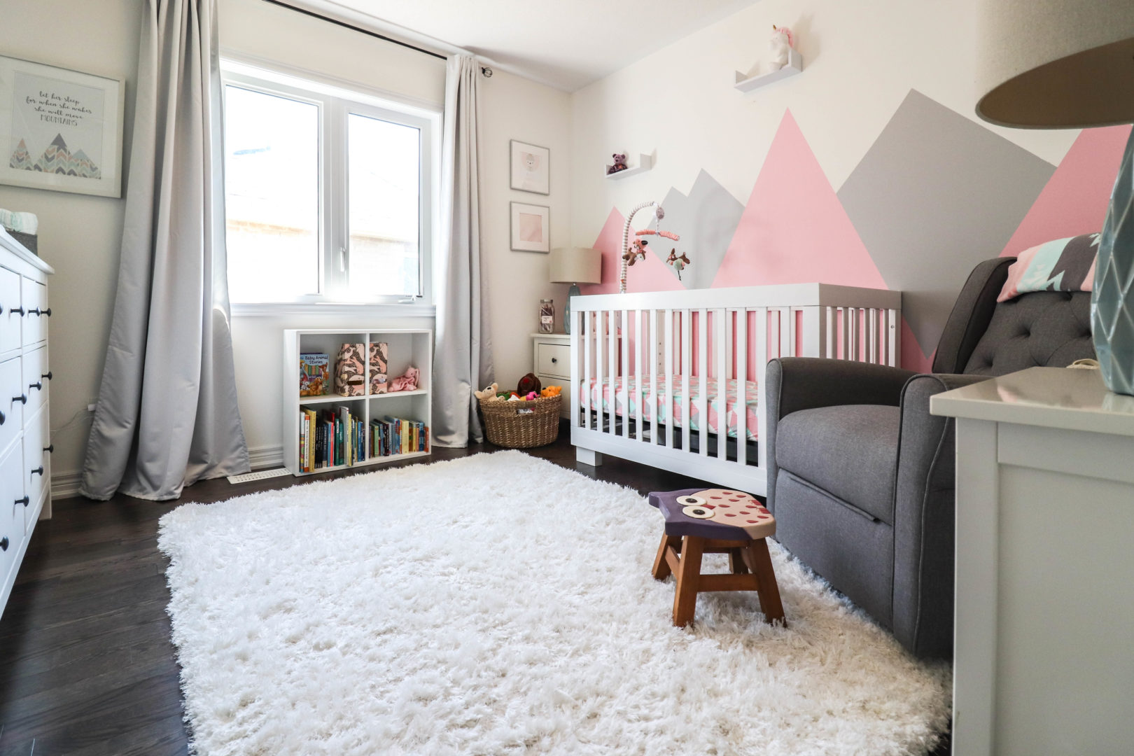 pops of pink baby girl nursery decor