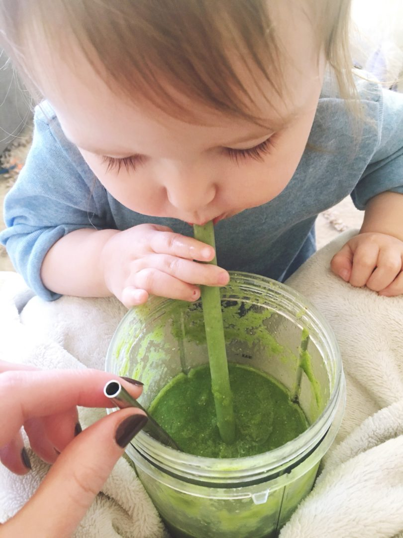 Blending greens with fruits make a delicious smoothie any picky eating toddler will love.