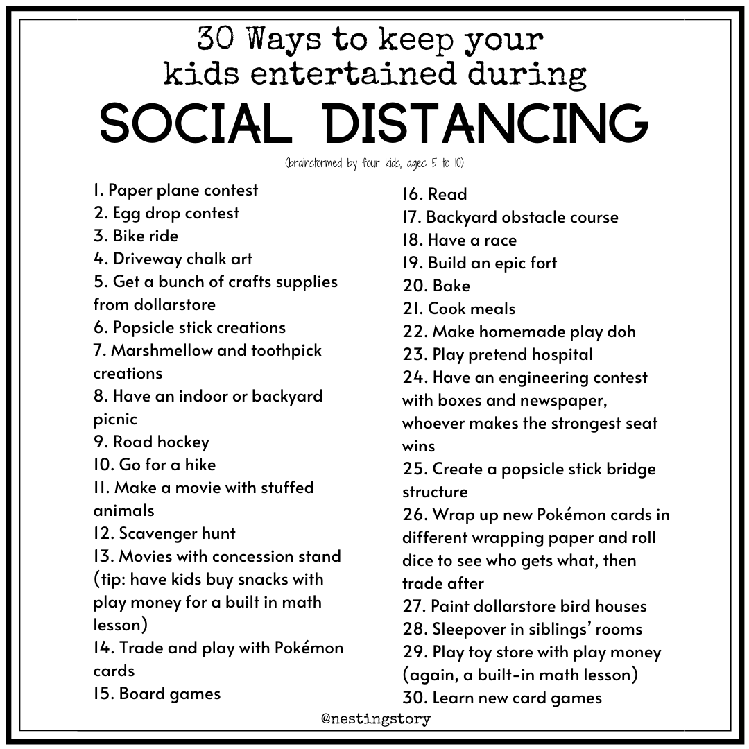30 ways to entertain your kids during social distancing